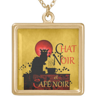 Chat Noir et Café Noir Gold Plated Necklace