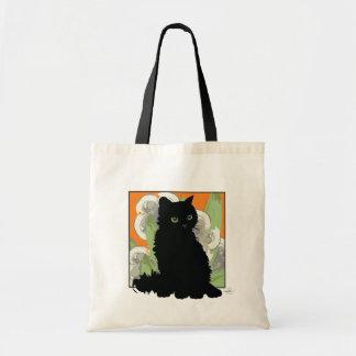 Chat Noir et Fleurs Blanches de Printemps Tote Bag