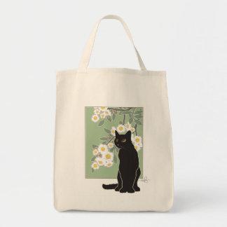 Chat Noir et Fluer de Pommier Grocery Tote Bag