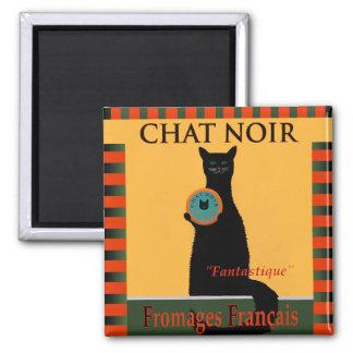 Chat Noir Fromages Français 2 Inch Square Magnet