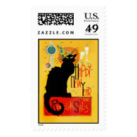 Chat Noir Happy New Year Postage