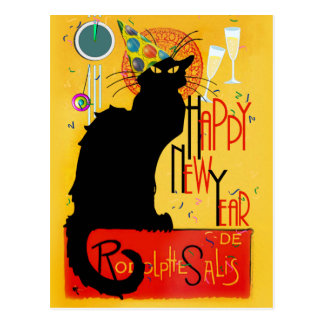Chat Noir Happy New Year Postcard