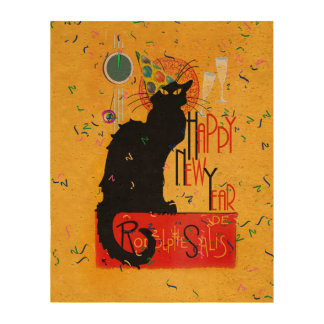 Chat Noir Happy New Year Photo Cork Paper