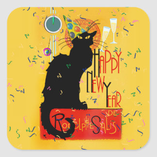 Chat Noir Happy New Year Square Sticker