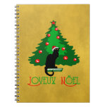 Chat Noir Joyeux Noel Spiral Notebook