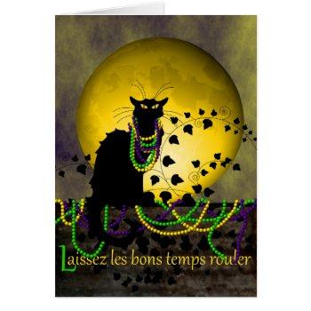Chat Noir Mardi Gras Card by HolidayBug at Zazzle