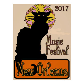 Chat Noir, New Orleans Music Poster