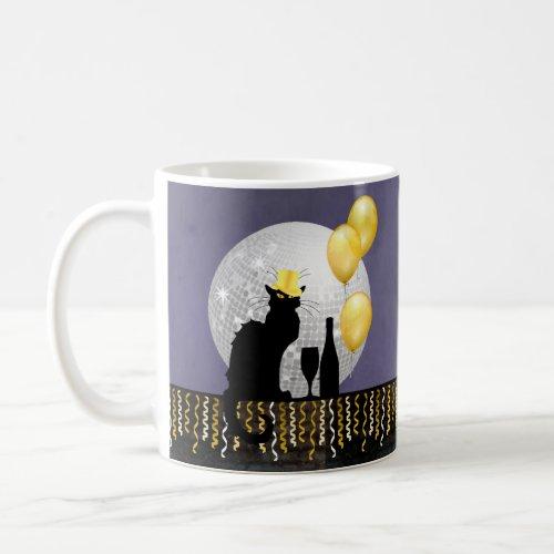 Chat Noir New Year Eve Coffee Mug