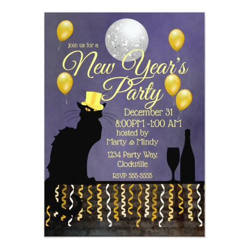 Chat Noir New Year Eve Invitation
