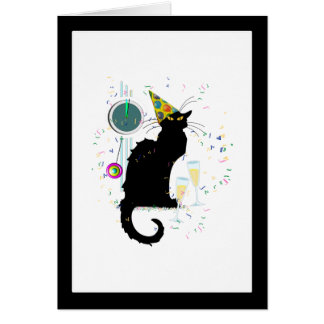 Chat Noir New Years Greeting Card