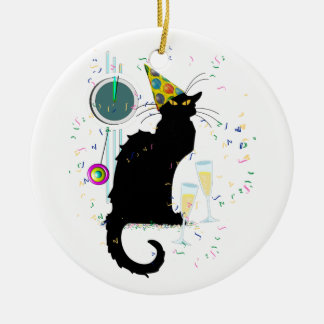 Chat Noir New Years Ceramic Ornament