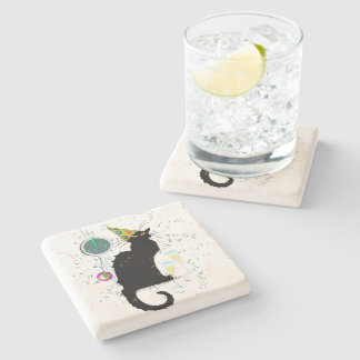 Chat Noir New Years Stone Coaster