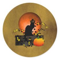 Chat Noir Thanksgiving Classic Round Sticker
