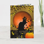 Chat Noir Thanksgiving Cat Card (Visit shop to explore more cute and fun cards and gifts).