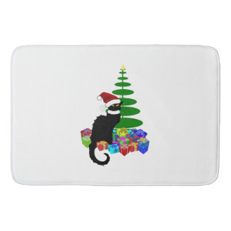 Chat Noir With Christmas Tree and Gifts Bathroom Mat