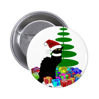 Chat Noir With Christmas Tree and Gifts Button