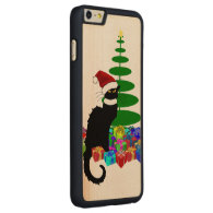 Chat Noir With Christmas Tree and Gifts Carved® Maple iPhone 6 Plus Case