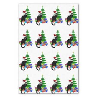 """Chat Noir With Christmas Tree and Gifts 10"""" X 15"""" Tissue Paper"""
