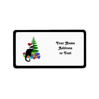 Chat Noir With Christmas Tree and Gifts Address Label