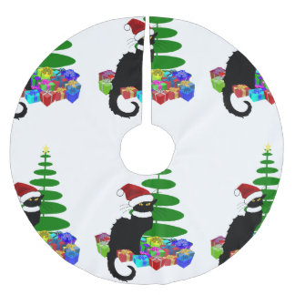 Chat Noir With Christmas Tree and Gifts Brushed Polyester Tree Skirt