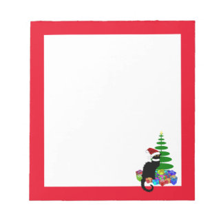 Chat Noir With Christmas Tree and Gifts Notepad