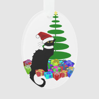 Chat Noir With Christmas Tree and Gifts Ornament