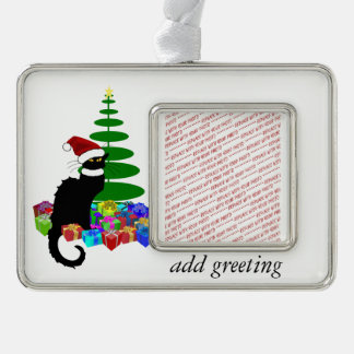 Chat Noir With Christmas Tree and Gifts Silver Plated Framed Ornament