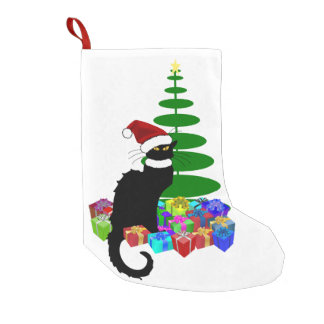 Chat Noir With Christmas Tree and Gifts Small Christmas Stocking