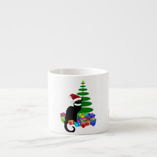 Chat Noir With Christmas Tree and Gifts 6 Oz Ceramic Espresso Cup
