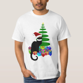 Chat Noir With Christmas Tree and Gifts T-Shirt
