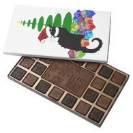Chat Noir With Christmas Tree and Gifts 45 Piece Assorted Chocolate Box