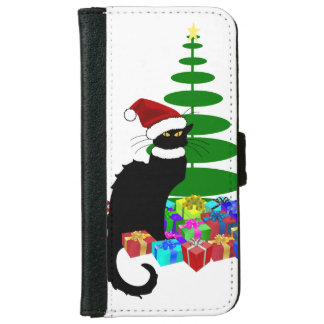 Chat Noir With Christmas Tree and Gifts Wallet Phone Case For iPhone 6/6s