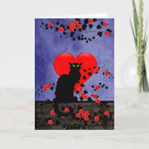 Chat Noir with Red Roses Holiday Card