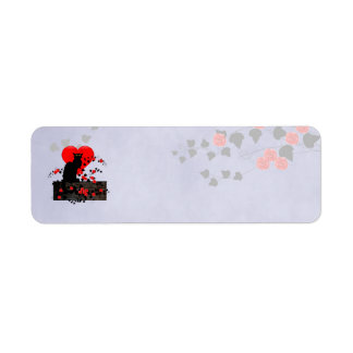 Chat Noir with Red Roses Label