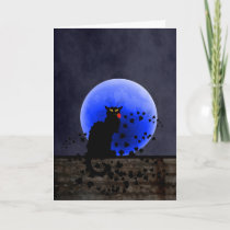 Chat Noir with Single Red Rose Holiday Card