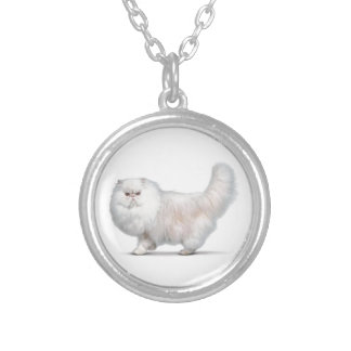 Chat persan silver plated necklace