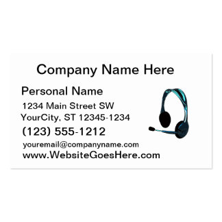 Chat Style Blue Black Headphones Graphic Business Card