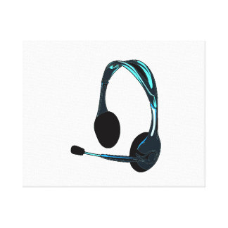 Chat Style Blue Black Headphones Graphic Canvas Print