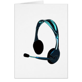 Chat Style Blue Black Headphones Graphic Card