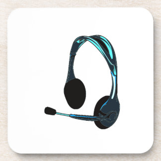 Chat Style Blue Black Headphones Graphic Drink Coaster