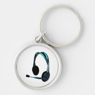Chat Style Blue Black Headphones Graphic Keychain