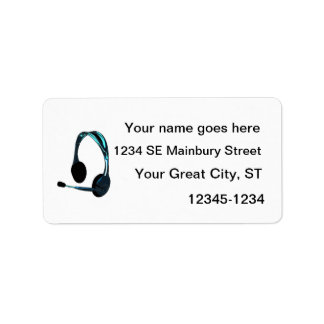 Chat Style Blue Black Headphones Graphic Label