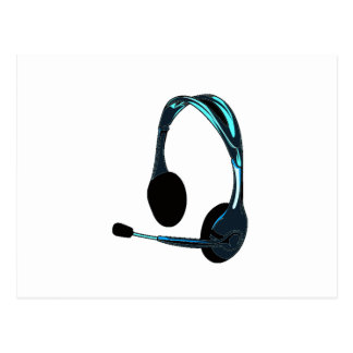 Chat Style Blue Black Headphones Graphic Postcard