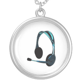 Chat Style Blue Black Headphones Graphic Silver Plated Necklace