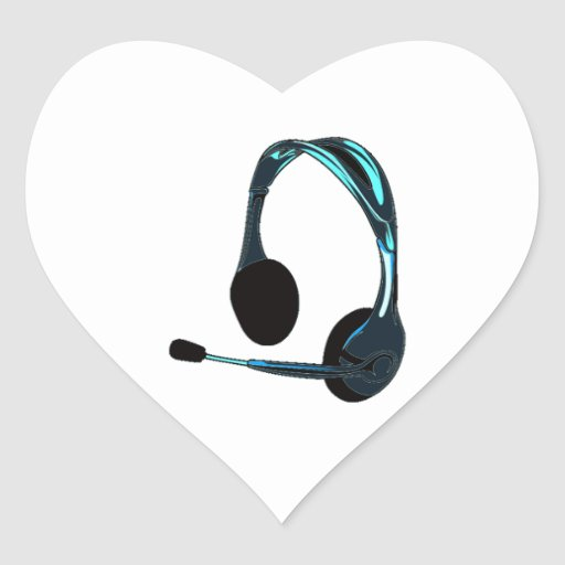 Chat Style Blue Black Headphones Graphic Stickers