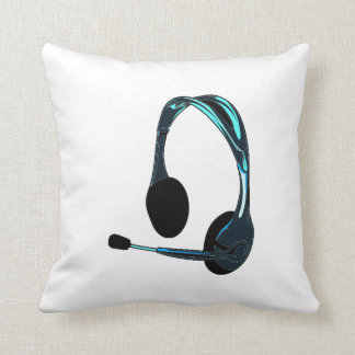 Chat Style Blue Black Headphones Graphic Throw Pillow