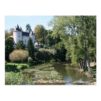 Château by a river postcard