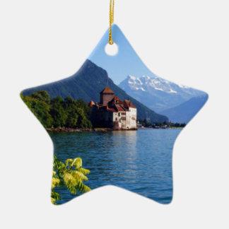 Chateau Chinon, beside Lake Geneva Ceramic Ornament