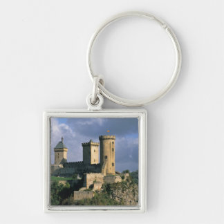 Chateau Comtal Chateau of the Counts of Silver-Colored Square Keychain