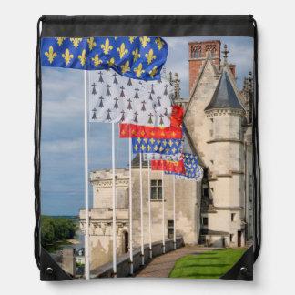 Chateau d'Amboise and flag, France Drawstring Bag